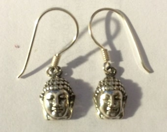 925 Sterling Silver Buddha Head Earrings