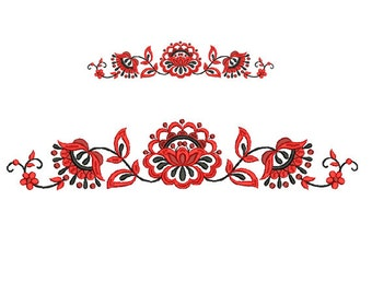 Border embroidery design. Floral border. Flower embroidery. Folk flower design. Machine embroidery. Frame Border Embroidery.