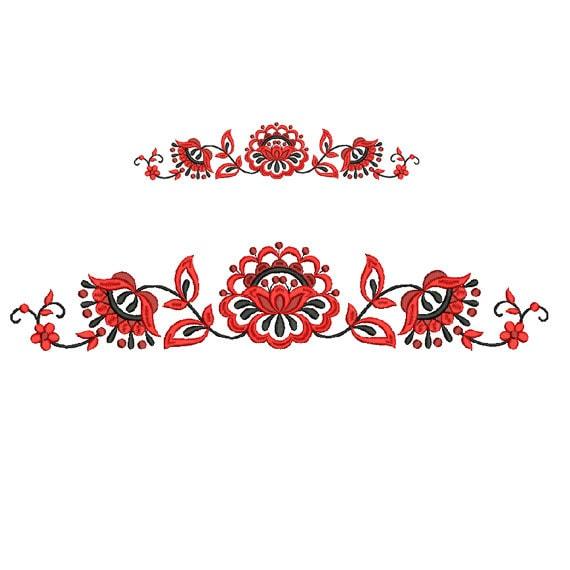 Border embroidery design floral flower