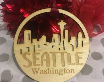 FREE SHIPPING *** Seattle Washington *** Skyline Christmas Holiday Ornament ***