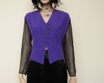 Funky black and purple 80's shirt - size 12/14