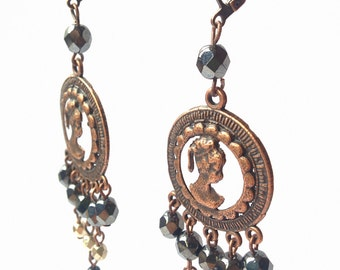 Dark metal old fashion long dangle&drop elegant earrings with metal details and glass beads included