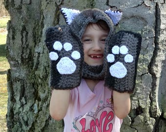Kitty Cat Scoodie (Hat Cowl Scaft) Toddler to Tween