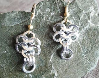 Silver chainmail earings