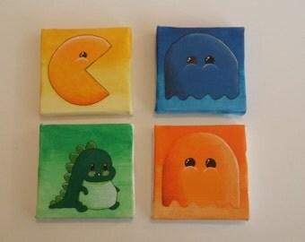 cute funny and cool gift idea Mini Canvas: Arcade Games, Geek Art 7x7cm Acrylic