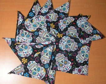 Ten mini black grounds Sweet Skulls - washable cotton handkerchiefs