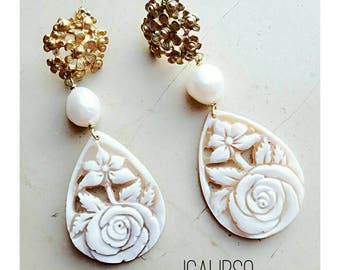 White jewelry for wife, earrings for wife, bridesmaids jewelry, wedding earrings, gold earrings, wife gift statement,  bridesmaid earrings