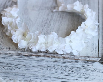 Tie back, White Hydrangea, Headband, Flower Girl, First Communion Accessories, Baptism Crown, Christening Crown