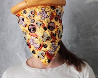 Pizza mask. Pizzaface. Food mask. Masquerade Mask.