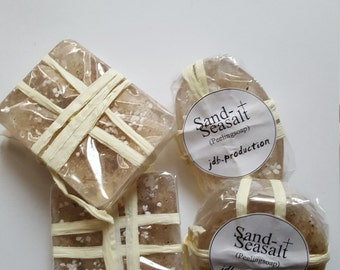 Peeling SOAP 'Sand + Seasalt', homemade, ideal after gardening or painting, decorative, effective