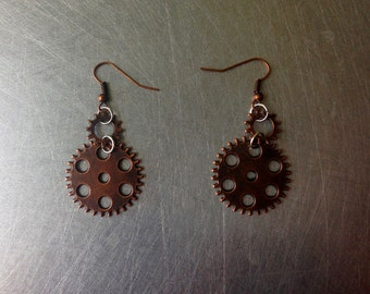 Steampunk Copper Gears Metal Ear Rings