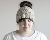 Messy Bun Hat Chunky Ponytail Beanie Winter Hair Cap | THE KINZIE in Oatmeal