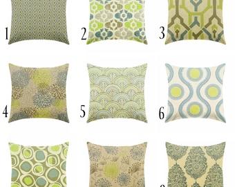 green pillow - blue pillows - linen pillows - gray pillows - pillow cover only - cushion cover -ZIPPER CLOSURE