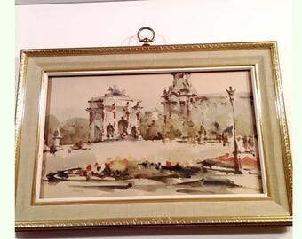 Vintage Mid Century Turner Wall Accessory Framed Watercolor Print