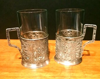 Vintage Russian Tea Glasses Silver Filigree Sleeves Holders with Removable Glasses - Set of 2