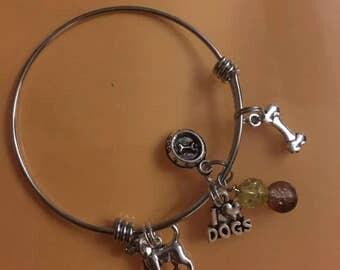 I love dogs bangle bracelet