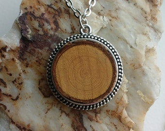 Simple antique silver pendent wooden essential oil diffuser necklace long chain oil diffuser aromatherapy jewelry boho festival gift for her