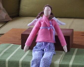 Hand-made fabric doll, cloth doll, rag doll, plush doll, textile doll - pink angel