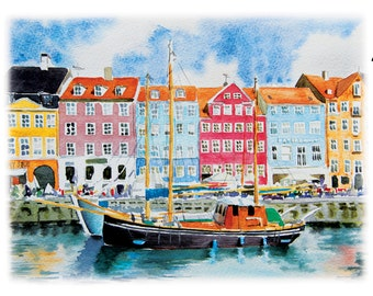 Copenhagen Art Prints from original watercolor paintings