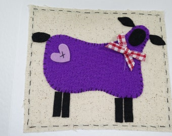 Handmade fabric card - felt greeting card - birthday card - sheep card - novelty card - greeting card - unusual card