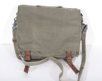 VINTAGE MESSENGER BAG, Canvas shoulder bag, military army crosbody bag, 1980's, Gift