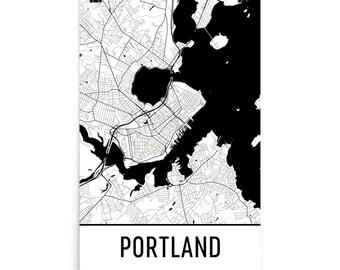 Portland Map, Portland Maine Art, Portland Print, Portland ME Poster, Portland Wall Art, Map of Portland Maine, Portland Gift, Decor, Map