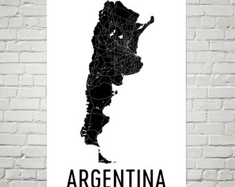 Argentina Map, Map of Argentina, Argentina Art, Argentinian Decor, Argentinian Gift, Argentina Print, Argentina Poster, Argentina Wall Art