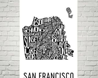 San Francisco Typography Neighborhood Map Art City Print, San Francisco Wall Art, San Francisco Art Poster, Gift, Map of San Francisco, Art