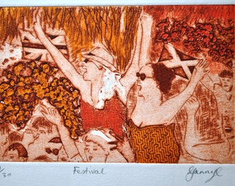 Festival: hand-inked collagraph print