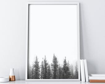 Forest Printable Art| Foggy Forest Digital Print| Minimalist Poster| Scandinavian Print| Black and White Woodland Wall Art| Wall Decor