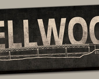 "Portland Oregon Sellwood Bridge Canvas Print Sign; One 24"" x 8"" x 1.5"" Stretched Canvas"