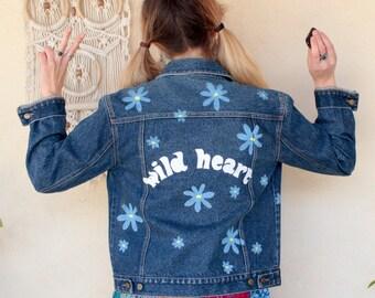 Wild Heart Daisy Re Worked Painted Denim Jacket