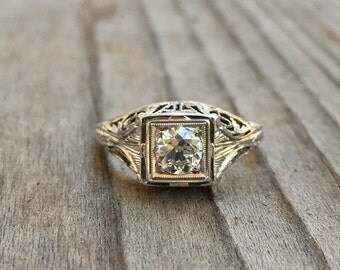 Art Deco filigree diamond engagement ring