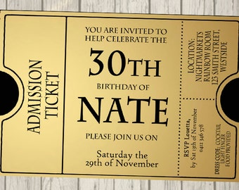 Golden ticket invitation – Etsy