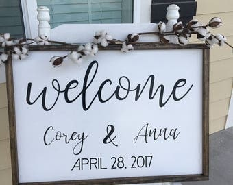 28 x 20 Wedding Welcome Sign - Wood Welcome Wedding Sign - Wood Wedding Framed Sign