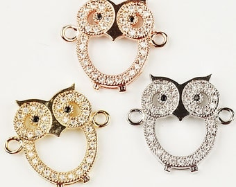 Owl animal connector/link,Cubic Zirconia Pave on Copper, gold/silver/rosegold plated,18mm,1pc