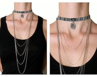 Chocker, Handmade chocker, Bohemian jewelry, Boho chocker, Black and White chocker, Alexander the Great Coin, Crystal details!