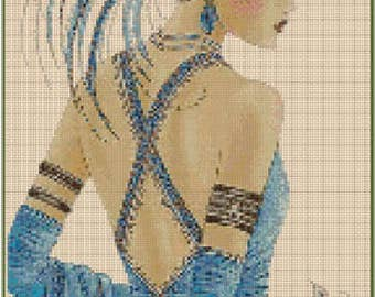 Art Deco Lady - Blue #1-23