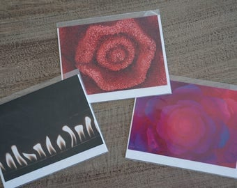Set of THREE Assorted Romantic Note Cards