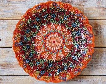 Plate, orange plate, orange platter, orange ceramic, decorative plate, ceramics, handmade plate, gift idea, handmade pottery, handmade plate