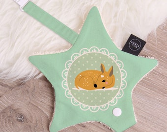 Attached pacifier Binky little Fawn baby cotton and sponge shape star