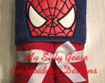 DIGITAL FILE 4x4 Spider-Man inspired spider hero web Peeker hooded towel embroidery design hoodie towel topper bow holder