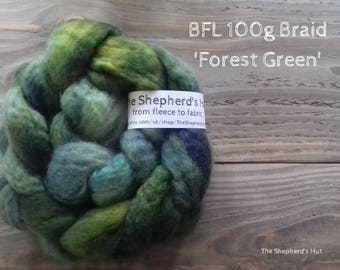 BFL hand dyed braid in' Forest Green' 100 g  3.5 oz