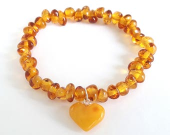 Natural amber heart bracelet baltic amber teething bracelet baby girl heart pendant cognac amber bead bracelet for women amber jewelry gift