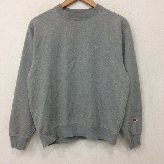 Rare!! Vintage CHAMPION Small Logo Sweatshirt Gray Colour