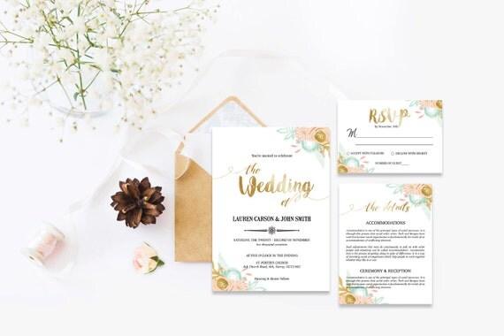 Flower wedding invite_34,Printable Wedding Invitation Suite,Wedding Invite Set,Wedding Printable,Calligraphy