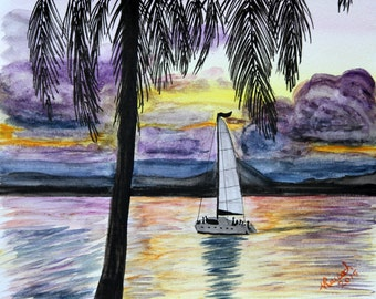 Watercolor Sunset Sailboat Palm Tree silhouette 12 x 9
