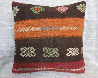 "Handwoven Kilim Pillow,16""x16""inches,40x40cm,Anatolian Handmade Tribal Vintage Kilim Pillow Cover"
