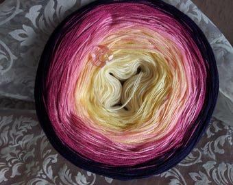"Color gradient yarn ""Harlequin-rose"""