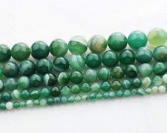 Green Banded Agate round loose gemstone beads strand 16'' 4mm 6mm 8mm 10mm 12mm